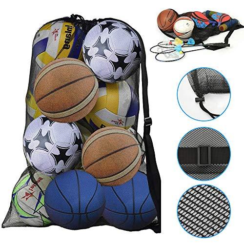DECARETA Balltasche Schwarz Ballnetz 100 * 72cm Ball Netz Netztasche Groß Balltragenetz Fussballnetz mit Kordelzug und Schultergurt für Volleyball Gymnastikball Basketball Handball