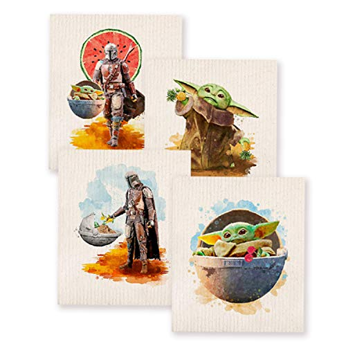 Behoneybee Mixed Set of 4 Baby Yoda Swedish Dishcloths Reusable Dish Towels Absorbent and Fast Dry Cleaning Cloths for KitchenECO Friendly Sponge ClothCleaning Wipes67 Inch by 76 Inch