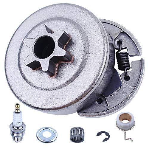 Motosierra7 piezas Tambor embrague Piñón3/8' Kit para Stihl 017 018 0221 023 025 MS170 MS180 MS210 MS230 MS250 piezas de repuesto con arandela de rodamiento de agujas E-Clip Tornillo sin fin