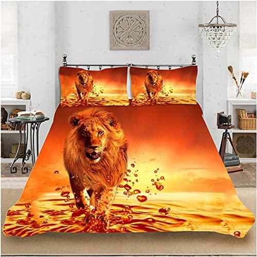 ASDZXC - Juego de fundas de edredón 3D con impresión digital, diseño de león ferrocemicrofibra, multicolor con funda de edredón y fundas de almohada para cama 1 o 2 personas (200 x 200 cm, F)