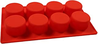 Amos 8 Cavity Round Shape Silicone Mould for Cake Chocolate Muffin Cup Cake soap Maker DIY Approx 100 GMS (Random Color)