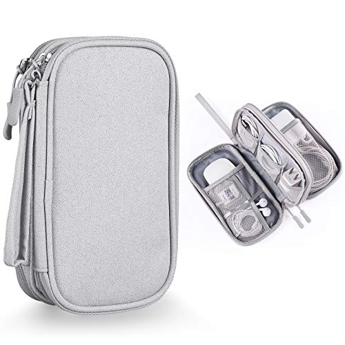 Bevegekos Cable and Charger Organizer Bag, Travel Case Pouch for Small Electronics & Accessories (Light Grey)