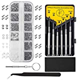 Eyeglasses Repair Kit, 1100PCS Eyeglass Screws and 6 Pcs Precision Screwdriver Set and Tweezers for Glasses, Sunglass, Jewelry, Spectacles and Watche