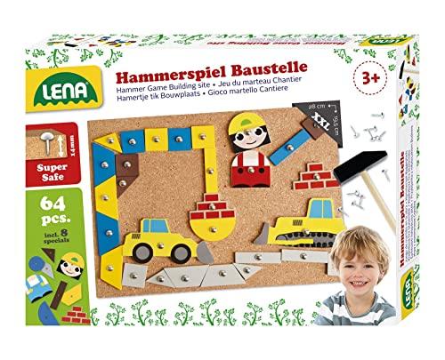 Lena 65828 Hammerspiel, Nagelspiel mit 64 bunten 8...