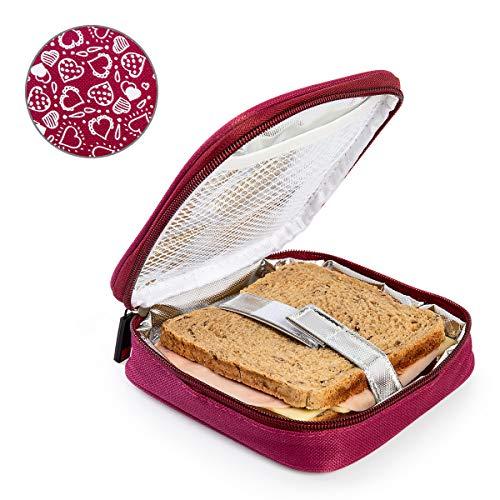 PracticDomus Porta Sandwich Infantil Termoinsulado Iris Barcelona Modelo Fun. Color Burdeos