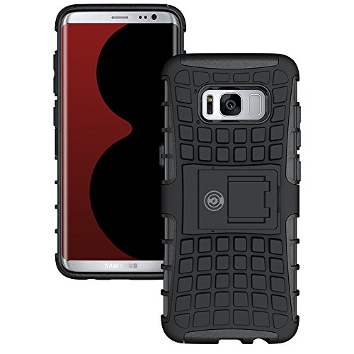 Galaxy s8 Case, Protective Galaxy s8 Armor Cases- [Eternity Series] Tough [Rubber] Rugged Shockproof Dual Layer Hybrid Hard/Soft Slim Case (for The Galaxy s8) by Cable and Case with Kickstand (Black)