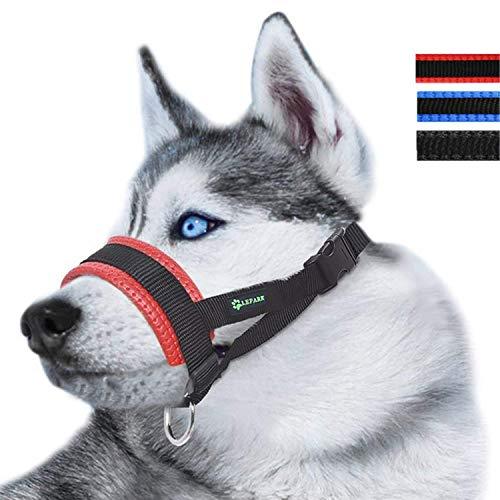 ILEPARK Maulkorb aus Nylon um Hunde vom Beisen, Bellen und Kauen abzuhalten, anpassbare Schlinge (S,Rot)