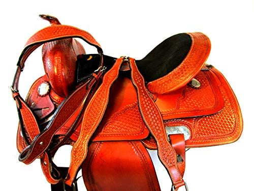 Bling Show Premium Tooled Leather 15 16 17 Barrel Racing Western Saddle TACK Set (16)