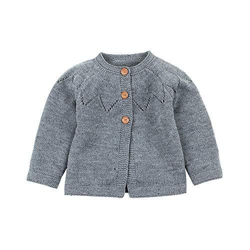 Pull bébé, Mamum Toddler Infant Garçons Filles Bouton Tricoté Solide Couleur Arc-en-Ciel Pull Outfit Manteau (gris, 80(12Mois))