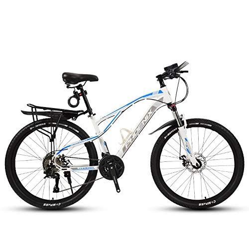 DGAGD Rueda de radios de Bicicleta Ligera de Velocidad Variable de Bicicleta de montaña de 24 Pulgadas-Blanco Azul_27 velocidades