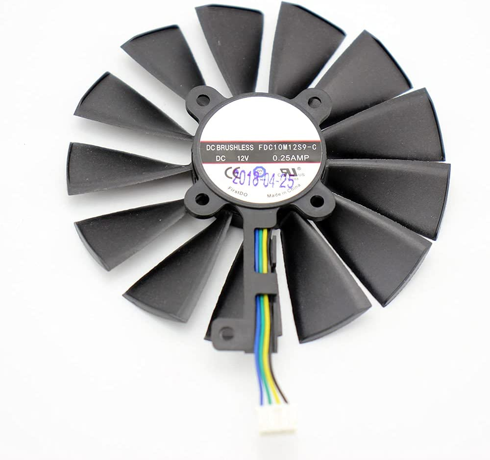 2 unids/Lote FDC10M12S9-C 12V 0.25AMP 95MM VGA Fan para ASUS Strix Dual RX RX 580 O4G RX580 O8G Gaming 4PIN 13BLADS Fan DE ENFRIAMIENTO (Blade Color : 1PCS)
