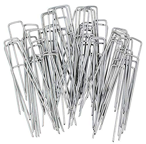 """G&B Garden netting membrane fleece pegs - 6"""" x 2.9mm U-Shaped Galvanised Securing Pegs for Securely Fixing Landscape Fabric, Chicken Wire, Fencing, Weed Barrier Membrane"""