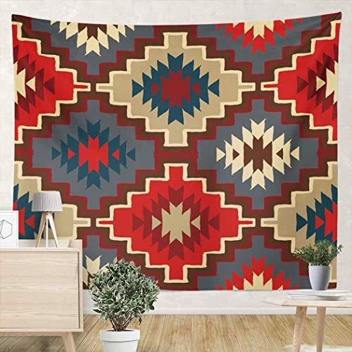 Yuanmeiju Tapiz Colgante de Pared étnico con Indio Americano Azteca con tapices de Pared de 59 x 59 Pulgadas Tribales nativos Americanos Navajo