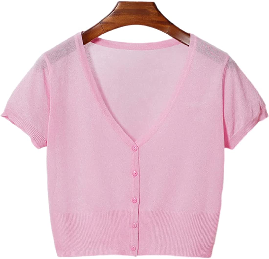SeekMe Women's Button Down Short Sleeve Soft Knit Bolero Sheer Mesh Crop Sweater
