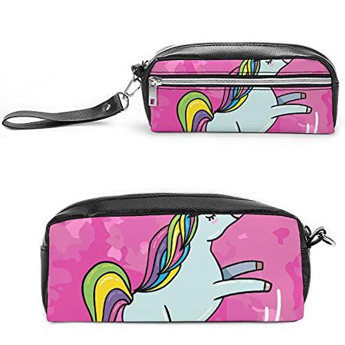 Bolsa de cosméticos de viaje grande para mujer, diseño de unicornio, color rosa, Negro-estilo-3, 20*10*5.5cm,