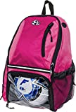 LISH Soccer Backpack - Large School Sports Gym Bag w/Ball Compartment (Pink)