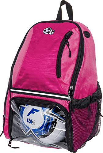 LISH Soccer Backpack - Large School Sports Gym Bag w/ Ball Compartment (Pink)