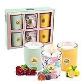 Lot de 6 Coffret Bougies Parfumées de Cadeau Ensemble,Bougie à la Cire de Soja Naturelle Idée Cadeau,pour l'aromathérapie, bain, yoga,Cadeau de fête des mères,soulager le stress