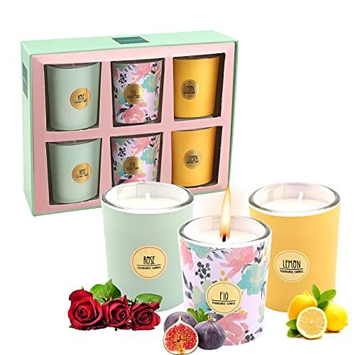 Lot de 6 Coffret Bougies Parfumées de Cadeau Ensemble,Bougie à la Cire de Soja Naturelle Idée Cadeau,pour laromathérapie, bain, yoga,Cadeau de fête des mères,soulager le stress