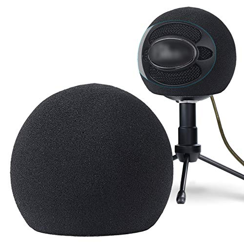 YOUSHARES Snowball Pop Filter - Microphone Windscreen Foam Cover Compatible with Blue Snowball iCE Mic Improve Audio Quality (Black)