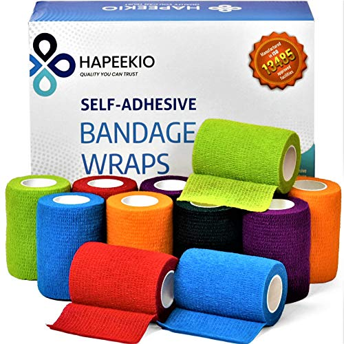 Self Adhesive Cohesive Bandage - Medical Tape - Vet Wrap - 12 Pack / 3 Inch x 5 Feet - Elastic, Breathable, Non-Woven - 6 Beautiful Colors - Athletic Tape for Sports, Injuries, Treatments and Recovery