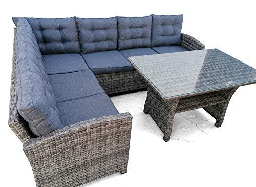 Rinconera de Jardin con Mesa Alta Comedor, Set de Muebles de Exterior Sofa de Rincon de 6 Plazas Junto con Mesa Alta de Comedor con Cristal Templado. Cojines Muy Comodos y Desenfundables Incluidos