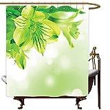 AYogg Duschvorhang Frische Lilie-Blüten-Blüte mit abstrakten Blättern Bokeh-Hintergr&-Gartenpflanze, lindgrüner apfelgrüner Duschvorhang