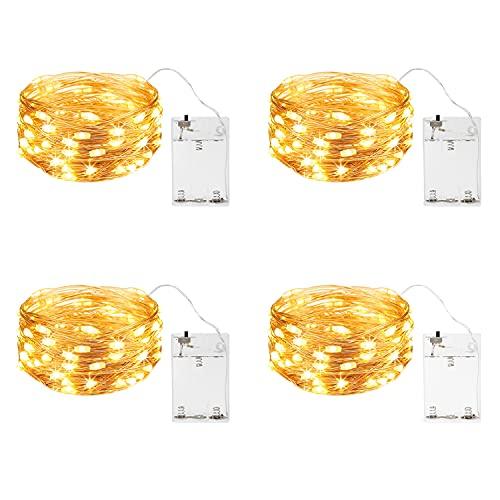 ITICdecor Stringa Luci Batteria Catene Luminosa Rame Filo 4 Pezzi 5m 50 LED Decorazione Camera Letto Giardino Festa Matrimonio Natale Bianco caldo