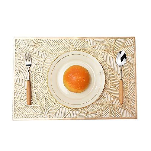 MANGATA Set de Table, PVC Set de Table Antidérapant Lavable Chaleur Résiste Set de Table (Or-Rectangle, 8 Pièces)