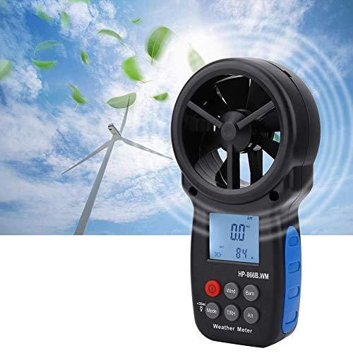 FYYONG Anemómetro digital portátil, 866B-WM portable del calibrador de la velocidad del viento volumen de aire de medición del termómetro de precisión herramienta de medición for el aire libre Vela Su