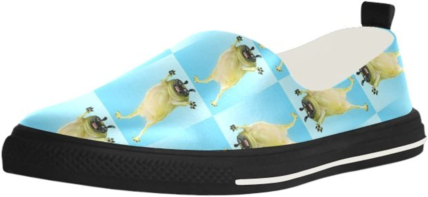 HUANGDAISY Funny Pugs Background Slip-on Microfiber Rubber Out-Sole EVA Insole shoes for Womens
