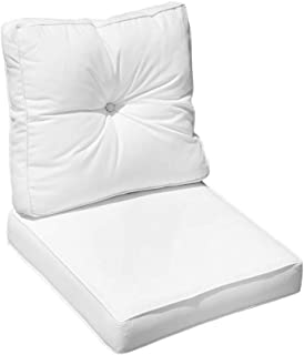 """MH GLOBAL White 24"""" x 24"""" x 6"""" Deep Seat Back Rest Cushion Pillow Outdoor Polyester Water Repellent Pipe Trim"""