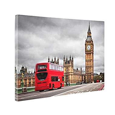 Niwo Art (TM) - 13 London Cityscape Picture On Canvas - Giclee Wall Art for Home Decor, Gallery Wrapped, Stretched and Framed Ready to Hang (30 x20 x1.5 )