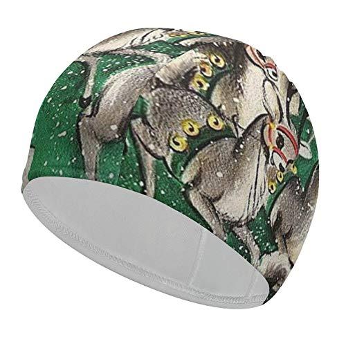 Adult Swim Cap Christmas Santa Claus Reindeer 92% Polyester+8% Spandex Waterproof Swimming Hat Keep Your Hair Dry Bathing Cap for Long Hair or Short Hair