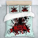 KOSALAER Parure de lit avec Housse de Couette en Microfibre,Rock and Roll Guita Skeleton,1 Housse de Couette 220 x 240 CM + 2 Taies d'Oreillers 50 x 75 CM