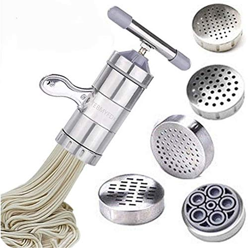 Stainless steel household small manual pasta machine kitchen hand pressure noodle pressing machineItaly Noodles Press Machine Pasta Maker with 5 Noodle Mould TEBMYFDK