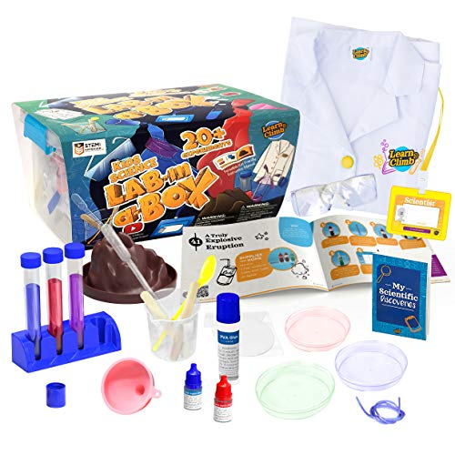 Learn & Climb Kids Science Kit with Lab Coat - Over 20 Science Experiments. Ages 5+ ( Color of Lab Coat Buttons May Vary)