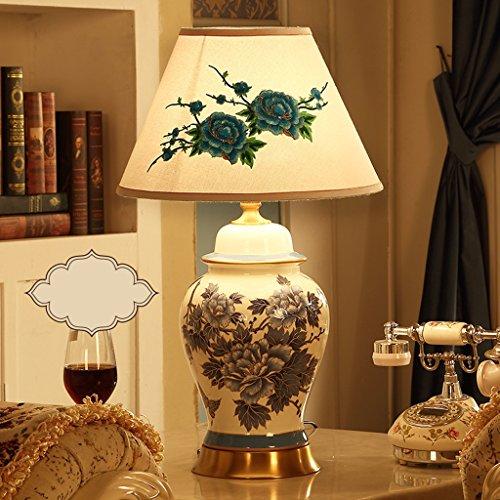 CKH American Keramik Tischlampe Schlafzimmer Nachttischlampe Wohnzimmer Luxus Retro Stoff Schreibtisch Hotel Rezeption Villa Lampe (Color : White)
