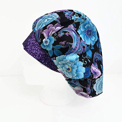 Bouffant Scrub Cap Purple Petals Scrub Hat OR Hats Womens Scrub Caps