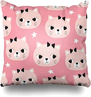 GisRuRu Throw Pillow Covers Cat Face Cute Pattern Wildlife White Baby Kids Pastel Adorable Graphic Home Decor Sofa Pillowcase Square Size 16 x 16 Inches Cushion Cases