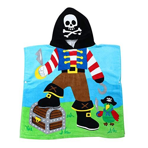 BESPORTBLE Pirat Kapuze Handtuch Schädel Schwimmen Vertuschungen Bademantel Baumwolle Strand Badetuch Kind Kapuze Strandtuch Cartoon Poncho Decke Umhang für Kinder Kleinkinder Jungen Mädchen
