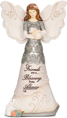 Pavilion Gift Company Elements 82313 Friends are a Blessing Collectible Figurine, Angel Holding Bunny, 6-Inch