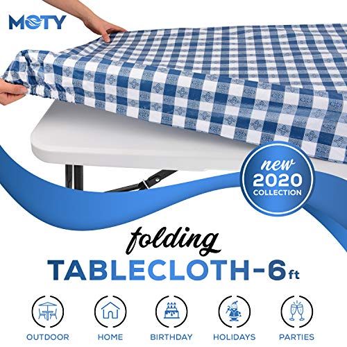 Tablecloth for Folding Table -Fitted Rectangular Table Cloth for 6 Foot, Size 32 x 72 inch - (180 x 75 cm), Plastic Vinyl Flannel Backed, Elastic Rim- for Christmas, Parties, Picnic, (Navy Blue plaid)