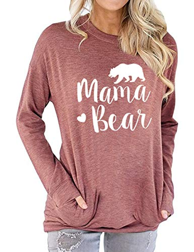Vaise Womens Mama Bear Shirt Casual Long Sleeve and Short Sleeve Tops Graphics Tees Loose Fit Sweatshirts (L, A-Red)