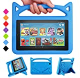 All-New 7 Tablet Case for Kids-SHERBORN Kids Shockproof Foam [Kids Friendly] Case with Stand Cat Ear Handle Kids Cover for 7 Tablet (Compatible with 9th Generation 2019 & 7th Generation 2017)-Blue