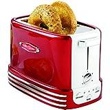 Amplia Tostadora for 2 rebanadas, acero inoxidable Tostadora retro perfecto for el pan, Inglés magdalenas, rosquillas, 5 niveles de dorado, con la bandeja de la miga y Almacenamiento de cable - rojo r