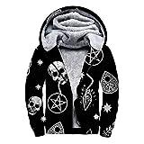 Skull Cat Moon Gothic Pattern Black Full-Zip Hoodies for Men Unisex 3D Print Front Pocket Pullover Coats Fleece Cool Long Sleeve Hoodie Sherpa Lined Hooded Jacket Sweatshirt Big Tall, XL