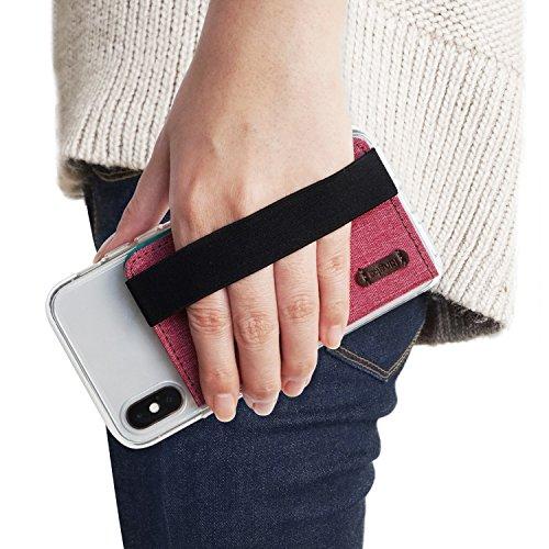 Ringke Band Flip Card Holder con Correa de Mano Elástica [Deep Pink Rosado] Empuñadura de Moda Multi-Tarjeta de Crédito Bolsa