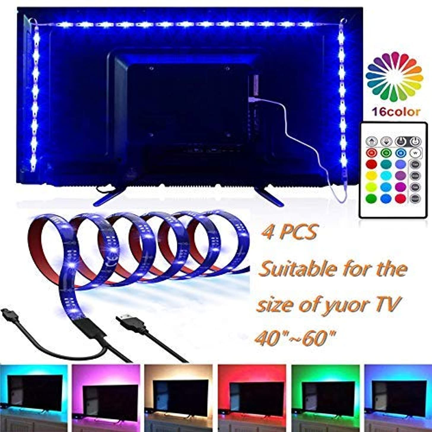 CINLITEK LED Strip Lights, LED TV Backlight 6.56ft for 40-60in Television USB TV Backlight Kit with Remote, 16 Color 5050, HDTV Bias Lamp, Waterproof Bias Lighting Led Light Strip for TV Desktop PC