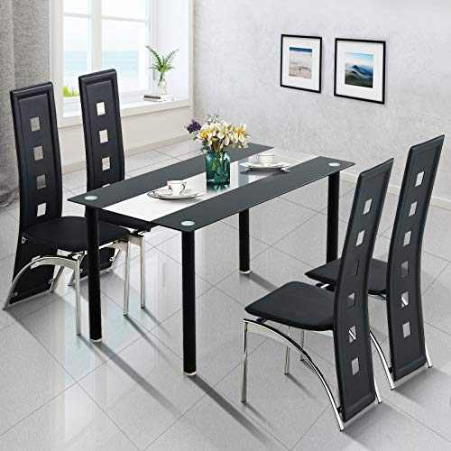 Fitnessclub 120CM Dining Room Table 4 Chairs Set Home Kitchen Living Room Furniture Rectangular Black&Clear Glass Tabletop Metal Frame Dining Table High Back Faux Leather Padded Chairs Design Chrome
